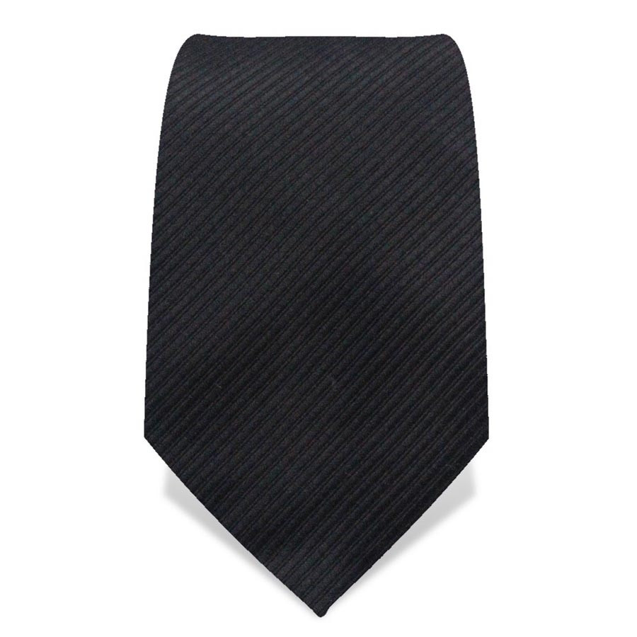 Krawatte 8,5 cm Uni, Feine gewebte Streifen, Schwarz