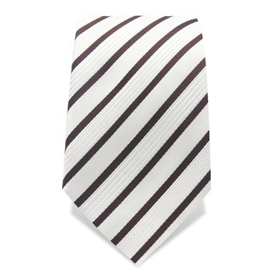 Krawatte 8,5 cm Klassischer Streifen, Weiß / Schwarz