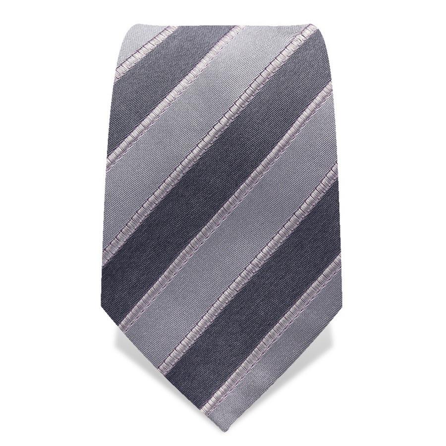 Krawatte 8,5 cm Streifen, Silber-Grau / Grau