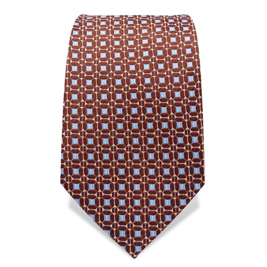 Krawatte 7,5 cm Feines Webmuster, Braun / Hellblau / Weiß