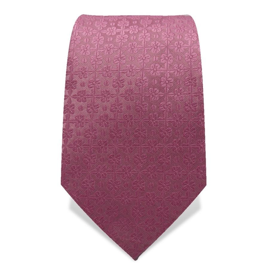 Krawatte 7,5 cm Uni Feines Webmuster Blume, Alt-Rosa