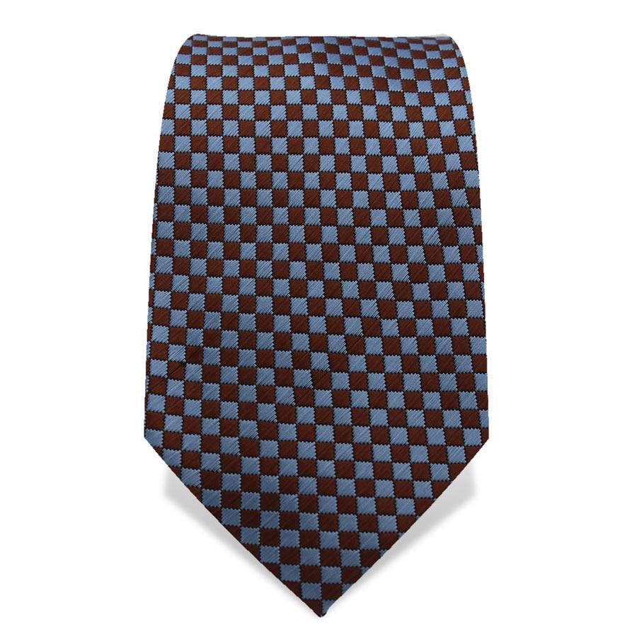 Krawatte 7,5 cm Kleinkaro (Checker), Braun / Hellblau