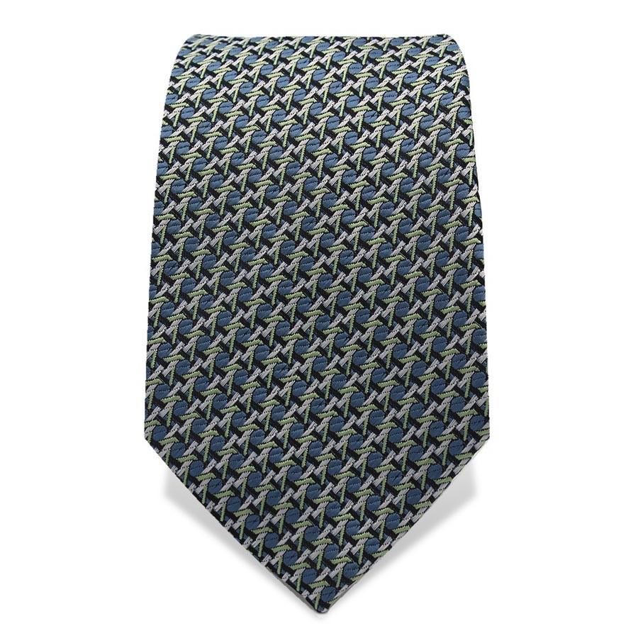 Krawatte 7,5 cm Feines Webmuster, Dunkelblau / Hellblau / Grün