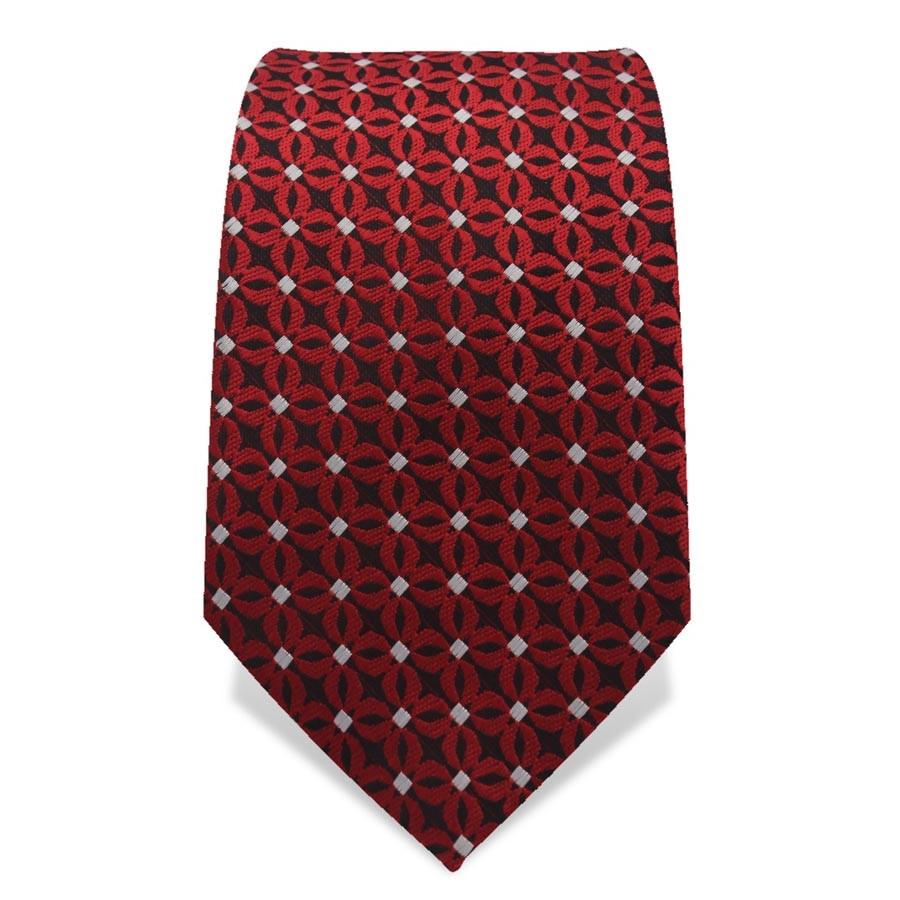 Krawatte 7,5 cm Feines Webmuster Punkte, Schwarz / Rot / Weiß