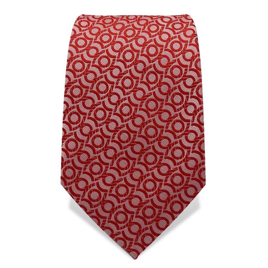 Krawatte 7,5 cm Feines Webmuster Kreismotiv, Rot / Altrosa