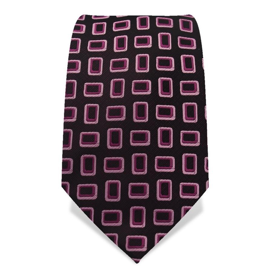 Krawatte 7,5 cm 70er Artist Muster, Dunkel-Violett / Pink