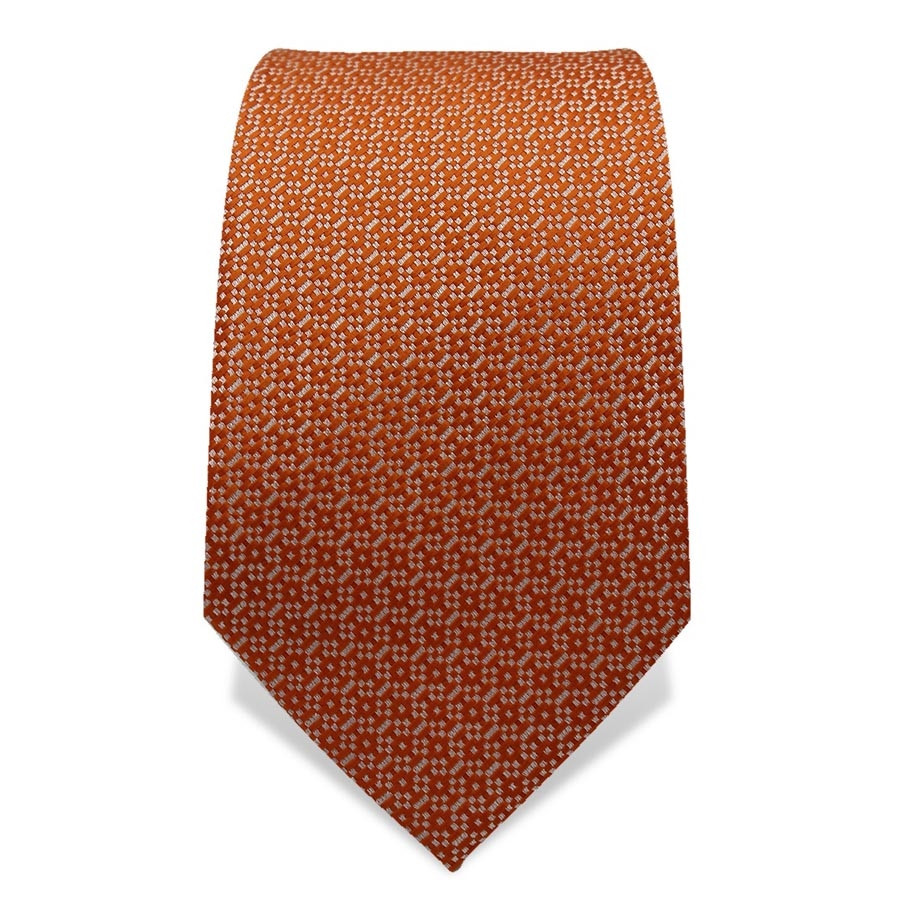 Krawatte 7,5 cm Feines Webmuster, Orange-Weiß