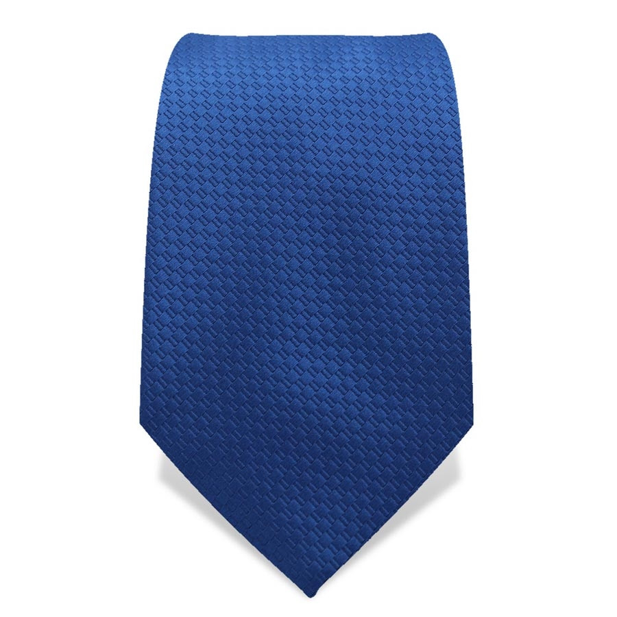 Krawatte 7,5 cm Uni Webmuster, Mittelblau