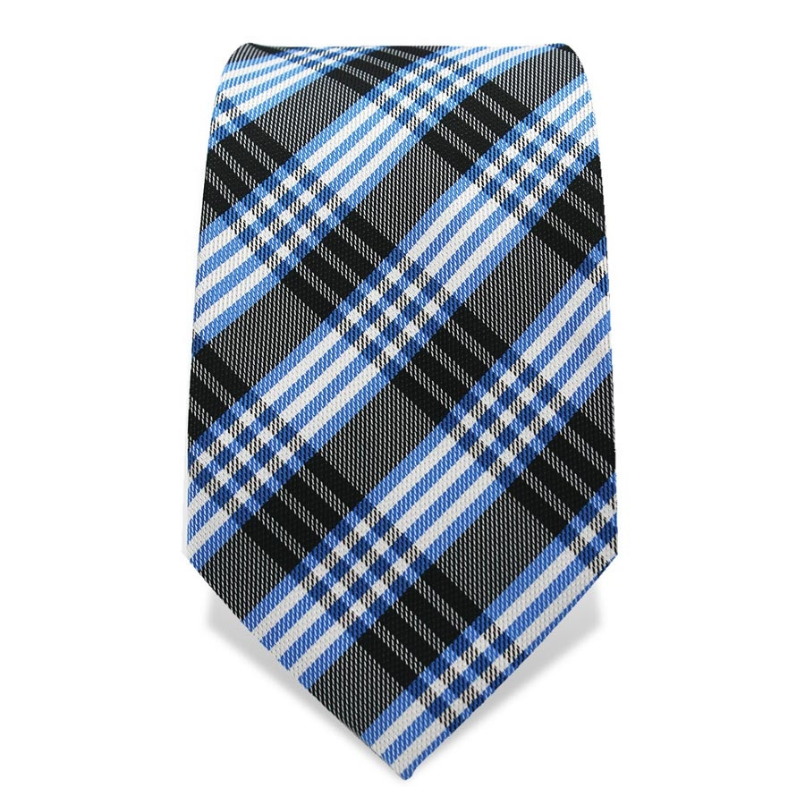 Krawatte 7,5 cm Klassisches Karo, Schwarz / Hellblau / Weiß