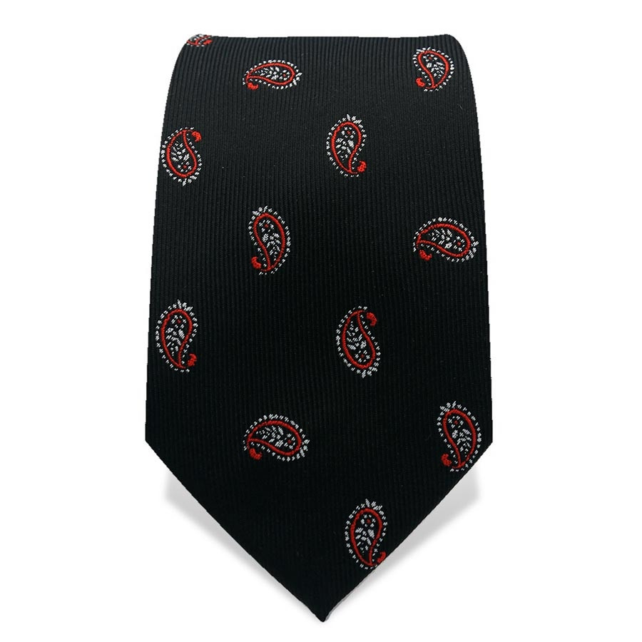 Krawatte 7,5 cm Klassisches Paisley, Schwarz / Rot / Weiß