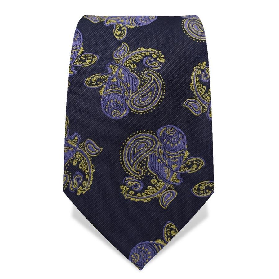 Krawatte 7,5 cm Große Paisley Variation, Dunkelblau / Blau / Gelb