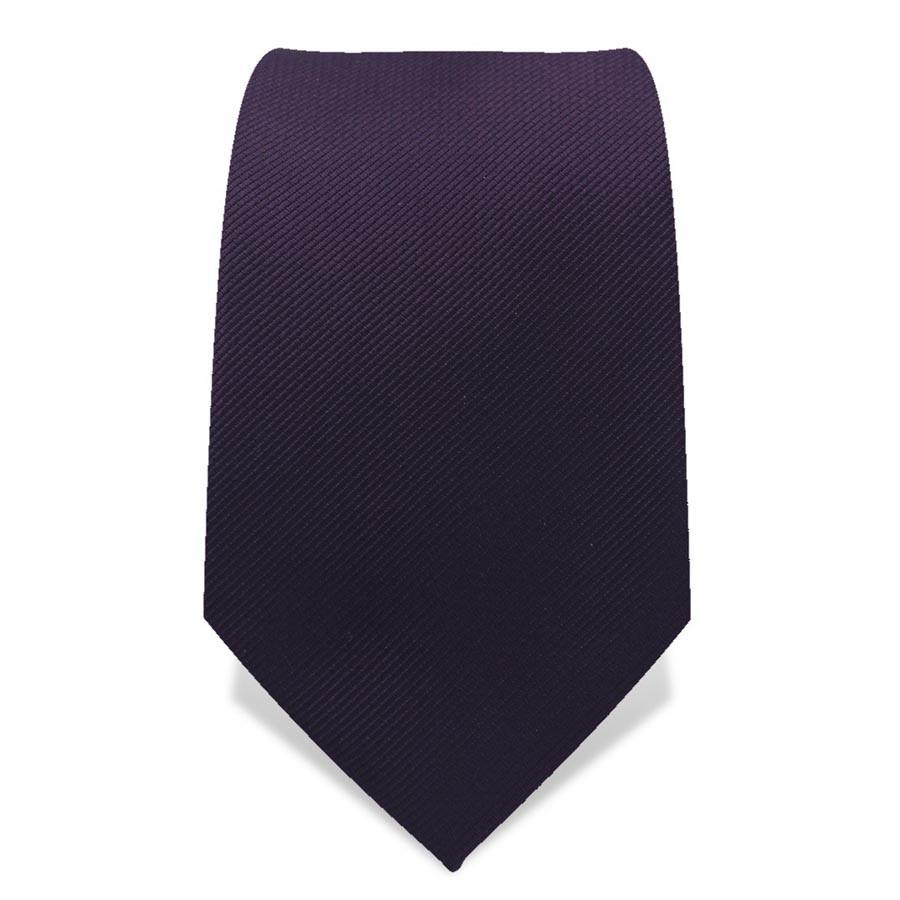 Krawatte 7,5 cm Uni Dunkel-Violett
