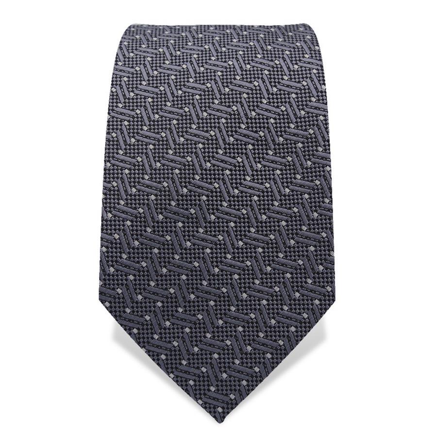 Krawatte 7,5 cm Webmuster 'Stäbchen', Grau / Weiß