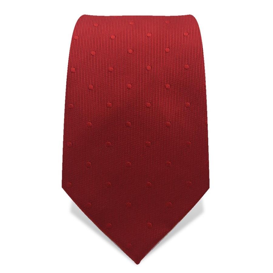 Krawatte 7,5 cm Uni Webmuster Punkte, Rot