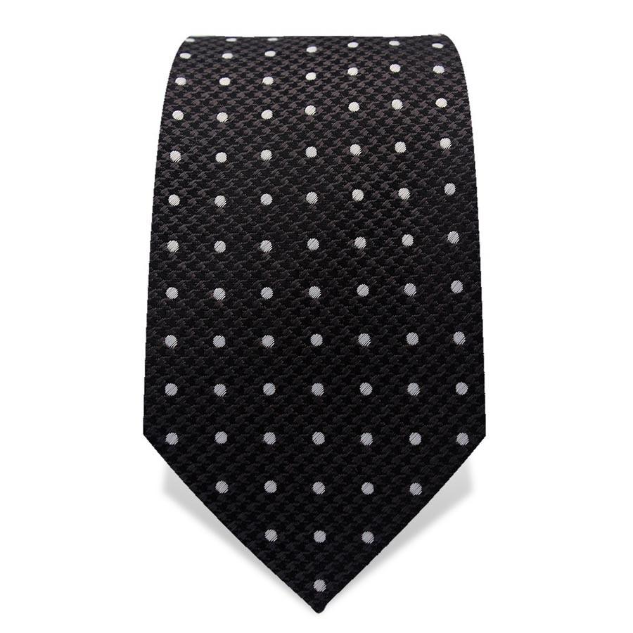 Krawatte 7,5 cm Punkte, Webmuster Punkte, Schwarz / Weiß