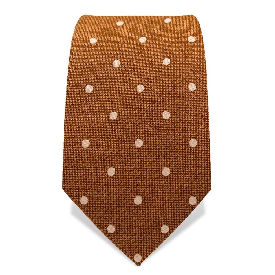 Krawatte 7,5 cm Punkte, Kupfer / Weiss