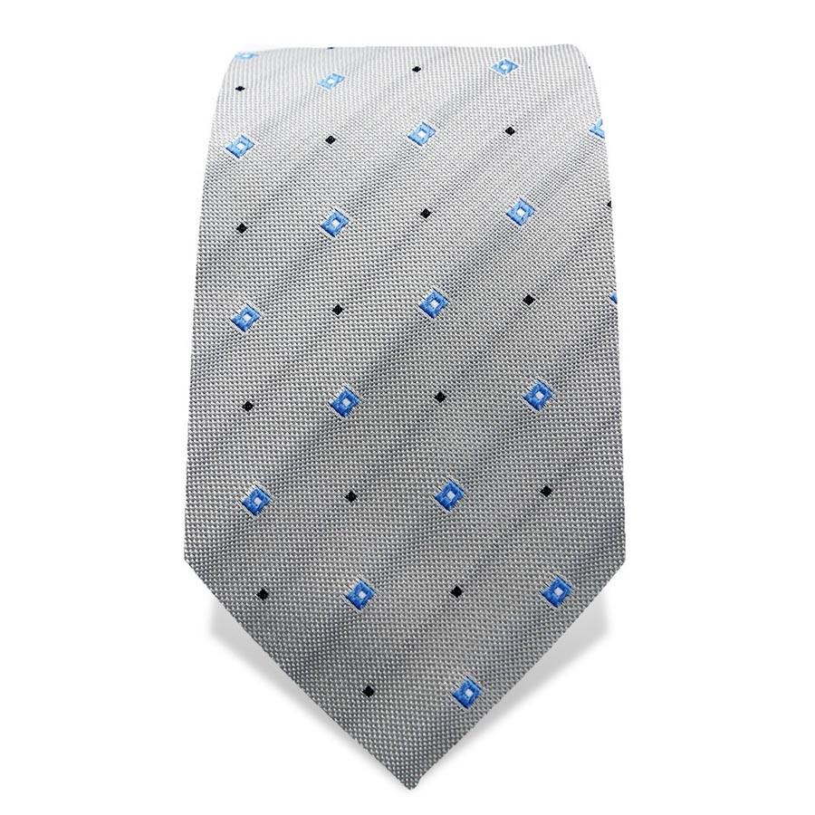 Krawatte 7,5 cm Feines Webmuster Rechtecke und Punkte, Grau / Hellblau / Schwarz