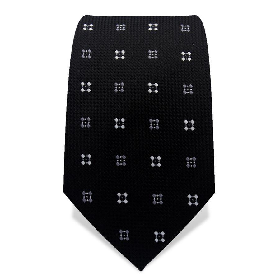 Krawatte 7,5 cm Klassisches Muster, Schwarz / Grau / Weiß