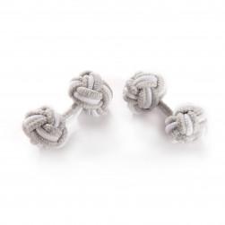 Seidenmanschettenknoten silbergrau/weiß