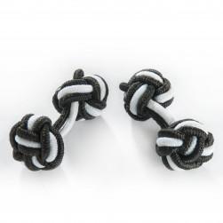 Seidenmanschettenknoten schwarz/weiß