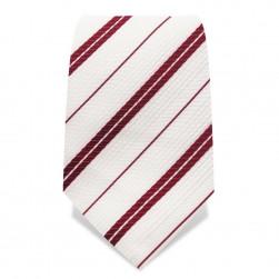 Krawatte 8,5 cm Streifen, Weiß / Rubin-Rot