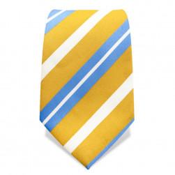 Krawatte 8,5 cm Streifenvariation, Gelb / Hellblau / Weiß