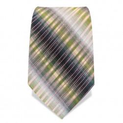 Krawatte 8,5 cm Artist Stripes, Grün / Gelb / Weiß