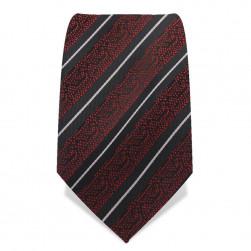 """Krawatte 8,5 cm """"Dark Red"""", Rubin-Rot / Schwarz / Weiß"""