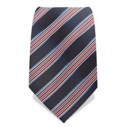 Krawatte 8,5 cm Klassischer Streifen, Grau / Orangerot / Schwarz