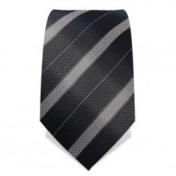 Krawatte 8,5 cm Grau-Graue Streifen, Dunkelgrau / Hellgrau