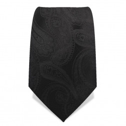 Krawatte 8,5 cm Schwarze Paisley, Schwarz