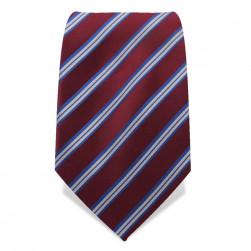 Krawatte 8,5 cm Klassiker Streifen, Rubin-Rot / Blau / Weiß