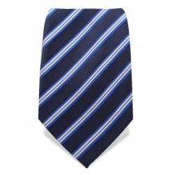 Krawatte 8,5 cm Klassiker Streifen, Dunkel-Blau / Hell-Blau / Weiß