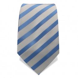 Krawatte 8,5 cm Klassischer Streifen, Weiß / Hellblau