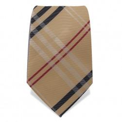 Krawatte 8,5 cm Klassisches Karo in Beige,  Beige / Schwarz / Weiß / Rot