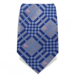 Krawatte 8,5 cm Karo-Reiter, Grau / Blau / Hellblau / Rosa