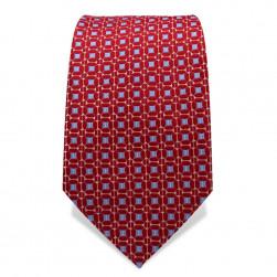 Krawatte 7,5 cm Feines Webmuster, Rot / Hellblau / Weiß