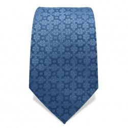 Krawatte 7,5 cm Uni Feines Webmuster Blume, Stahl-Blau