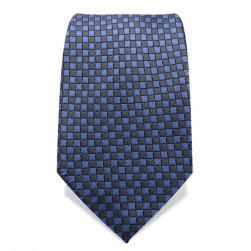 Krawatte 7,5 cm Kleinkaro (Checker), Blau / Dunkelgrau