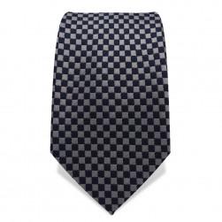 Krawatte 7,5 cm Kleinkaro (Checker), Silbergrau / Schwarz