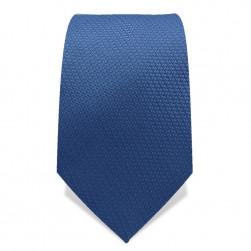 Krawatte 7,5 cm Uni, feines Webmuster, Stahl-Blau