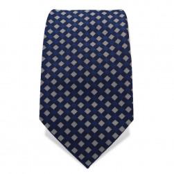 Krawatte 7,5 cm Feines Webmuster Karo, Klassisch, Dunkelblau / Blau / Grau