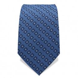 Krawatte 7,5 cm Klassisches Muster Blumenquarder, Hellblau / Dunkelblau / Weiß