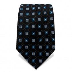 Krawatte 7,5 cm Klassisches Muster Quarder, Schwarz / Blau / Weiß
