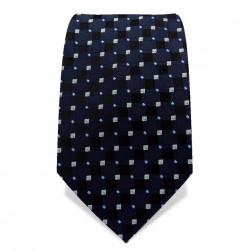 Krawatte 7,5 cm Klassisches Muster Quarder + Dots, Schwarz / Nachtblau / Weiß