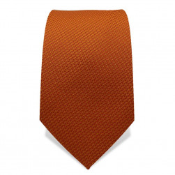 Krawatte 7,5 cm Uni, feines Webmuster, Kupfer-Orange