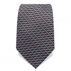 Krawatte 7,5 cm Feines Webmuster, Schwarz / Hellblau / Braun / Weiß