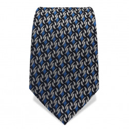 Krawatte 7,5 cm Feines klassisches Muster, Nachtblau / Blau / Weiß