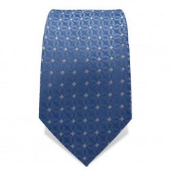 Krawatte 7,5 cm Feines Webmuster Punkte, Stahl-Blau / Weiß