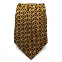 Krawatte 7,5 cm Feines Webmuster Punkte, Schwarz / Gold / Weiß